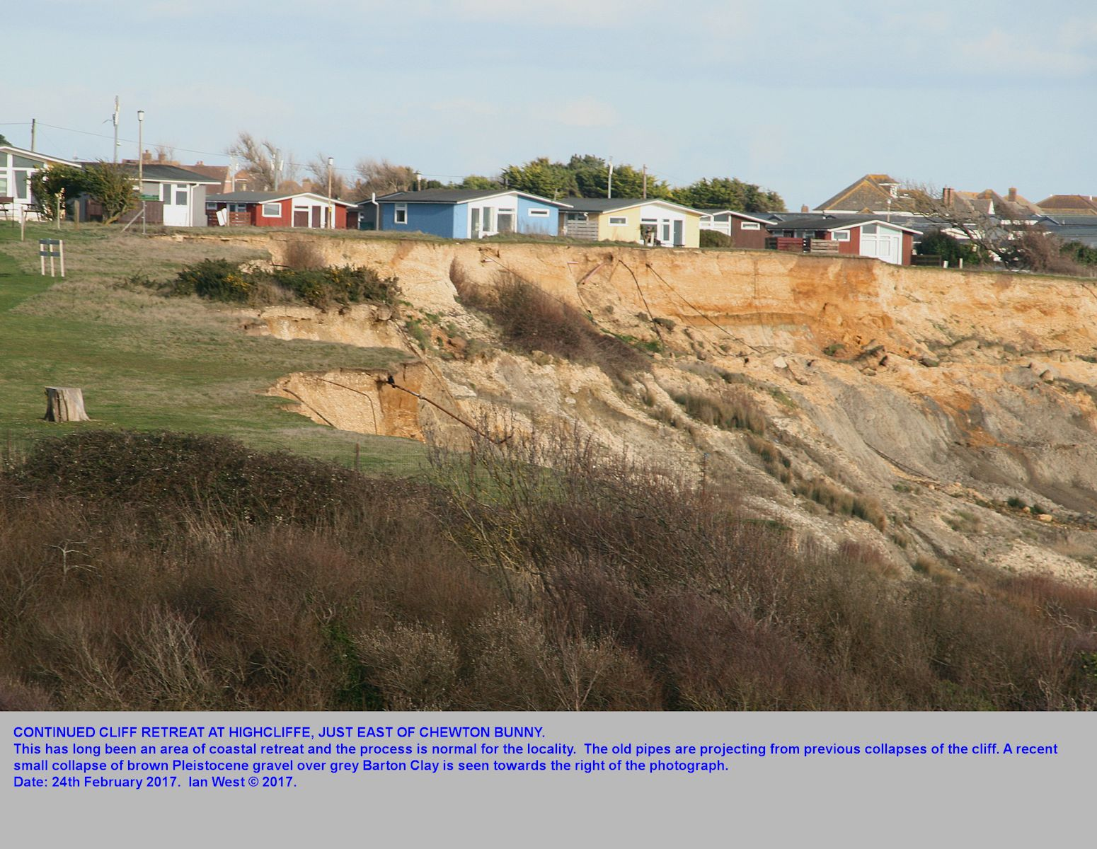 Erosion at the Naish Farm locality, Highcliffe, Hampshire, with some minor recent collapse of the top, Pleistocene gravel cliff, February 2017