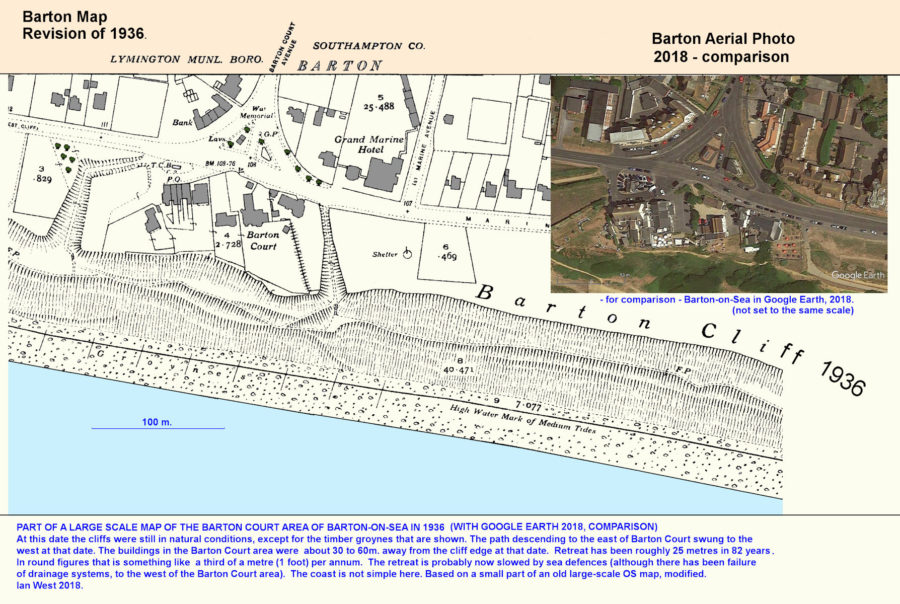 Erosion in the central Barton-on-Sea cliff area, shown by comparison of part of a 1936 map and part of a 2008 aerial photograph