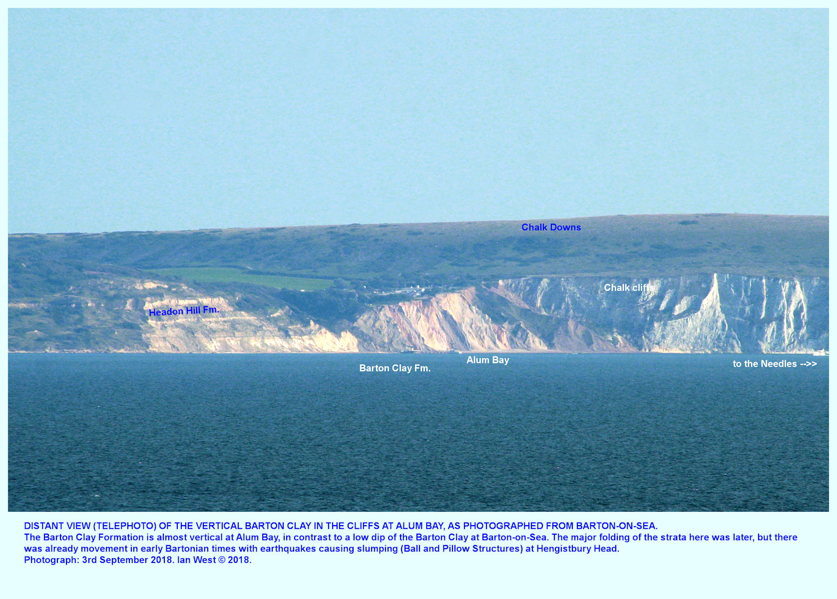 Alum Bay, Isle of Wight, with Barton Clay in the cliff, seen with telephoto lens, in the distance from Barton-on-Sea, Hampshire, 3rd September 2018