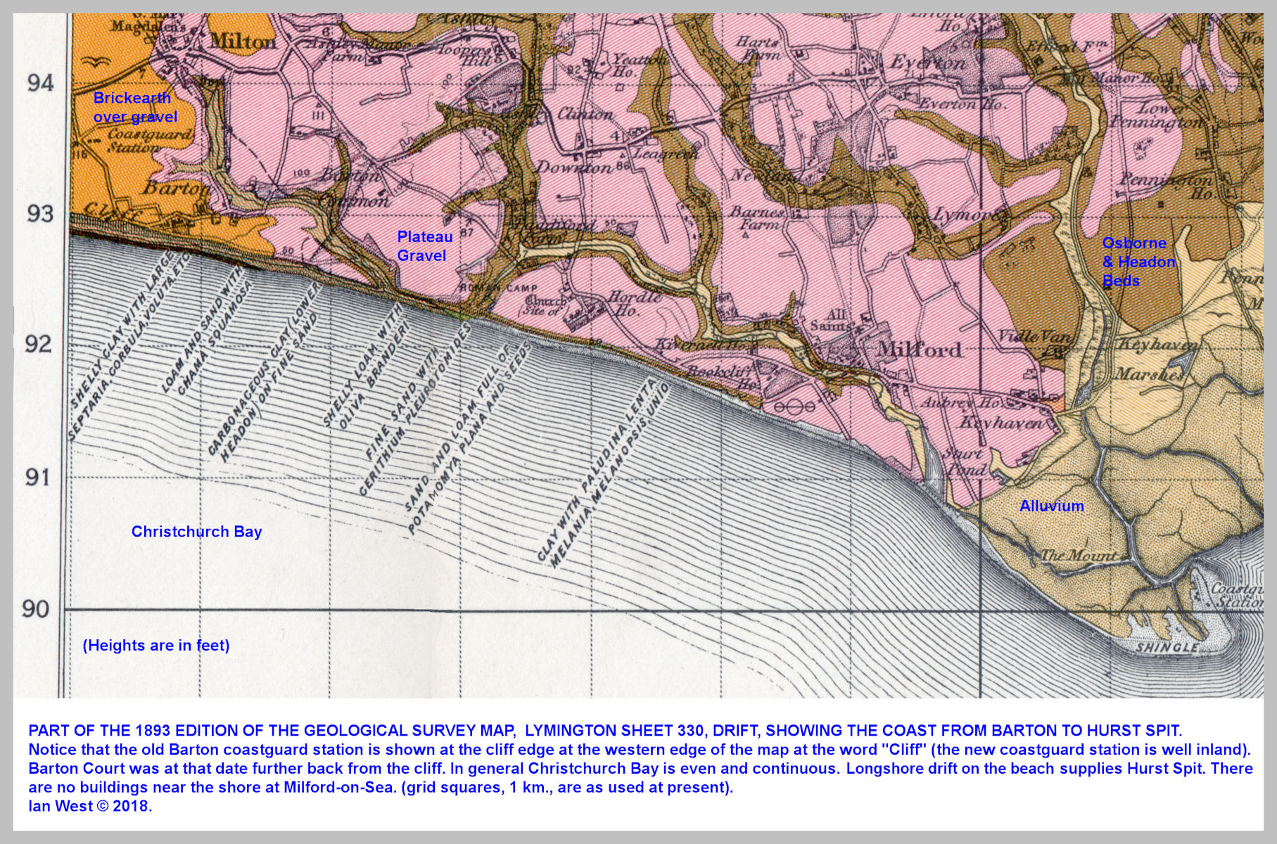 A selected part of the 1893 Geological Survey Map, Lymington Sheet, 330, Drift, original - one inch to one mile - it shows the coast from Barton-on-Sea to Hurst Spit