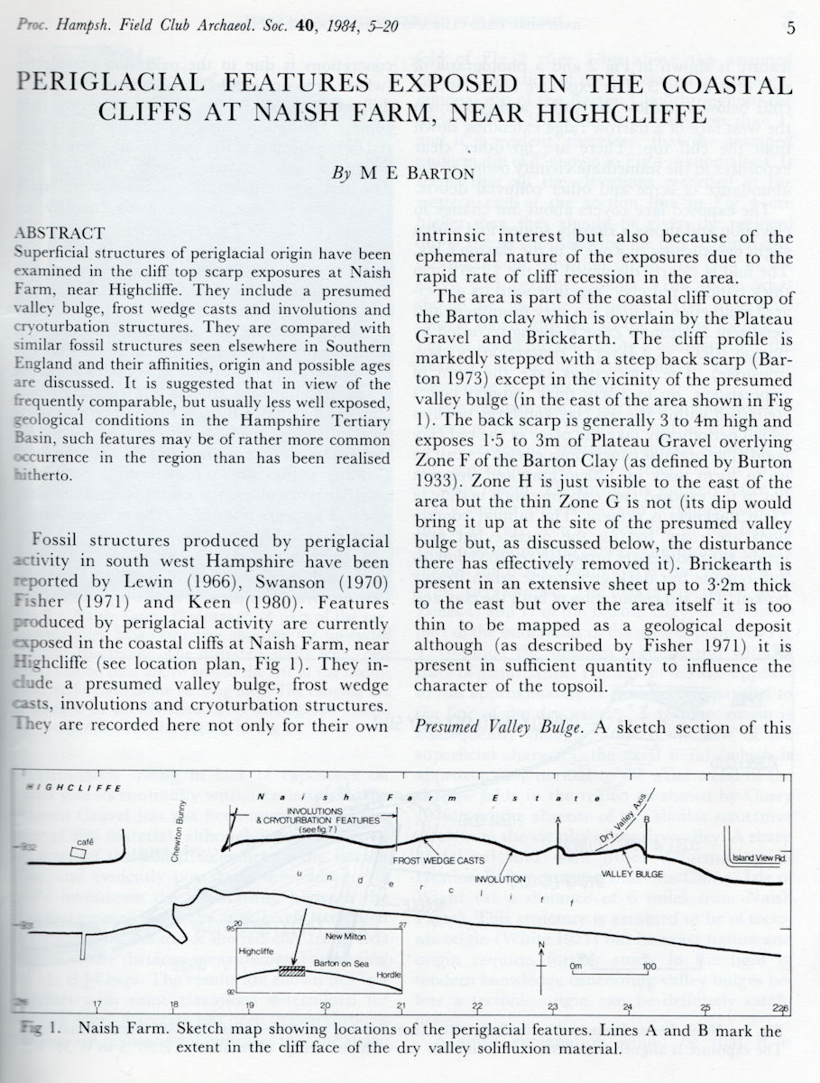 A key paper, by Professor Max Barton on periglacial features in the cliffs between Highcliffe and Barton-on-Sea - front page only