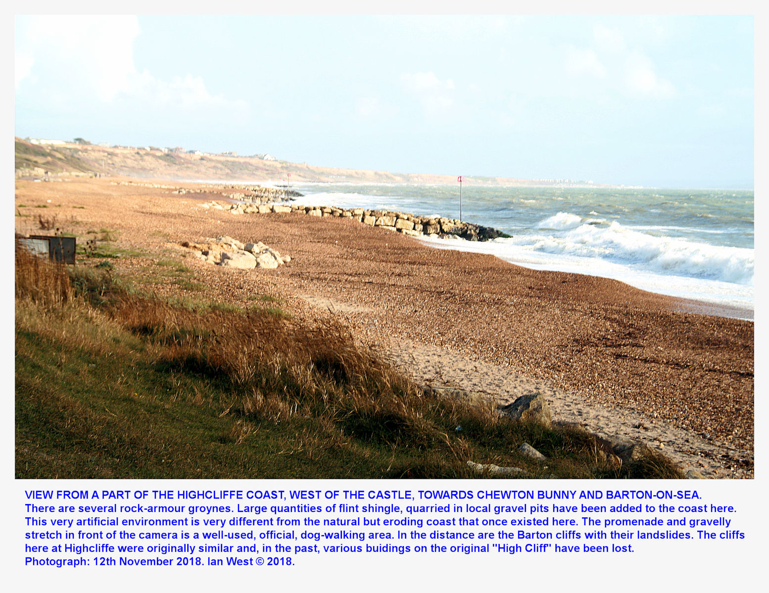Looking towards Barton-on-Sea from the Highcliffe coast, to the east of  Highcliffe Castle, with a rough sea, on 12th November 2018