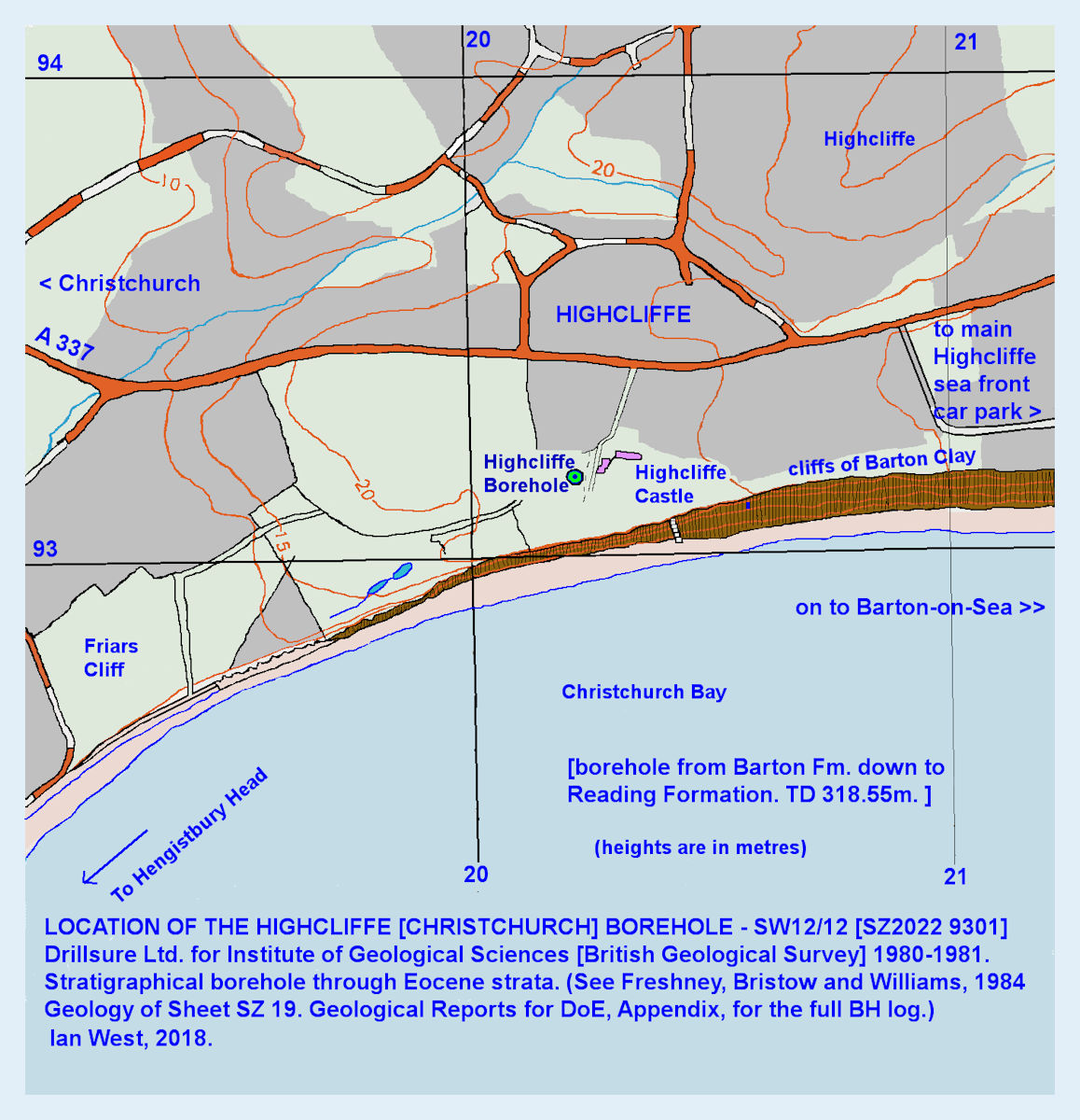 Location map for the Highcliffe or Christchurch Borehole though Eocene strata