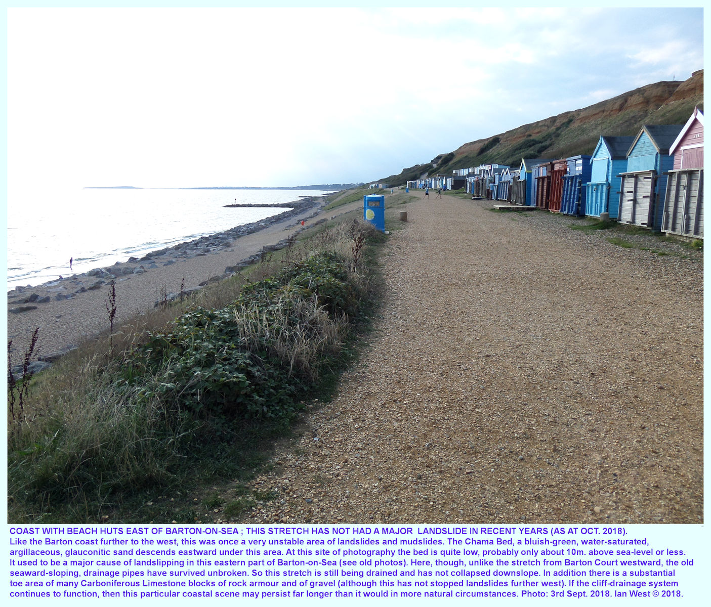 A row of beach huts east of the Barton Court area on an apparently stable, modified cliff area that has been successfully drained since about 1975 and is seen here in September 2018
