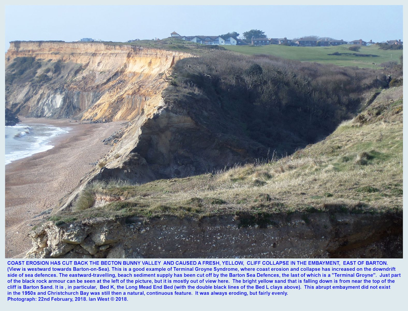 Terminal Groyne Syndrome effect, a new collapse of the Barton Sand in the cliff just east of the eastern end of the Barton sea defences near Becton Bunny, between Barton-on-Sea and Hordle Cliff, Hampshire, southern England, 22nd February 2018