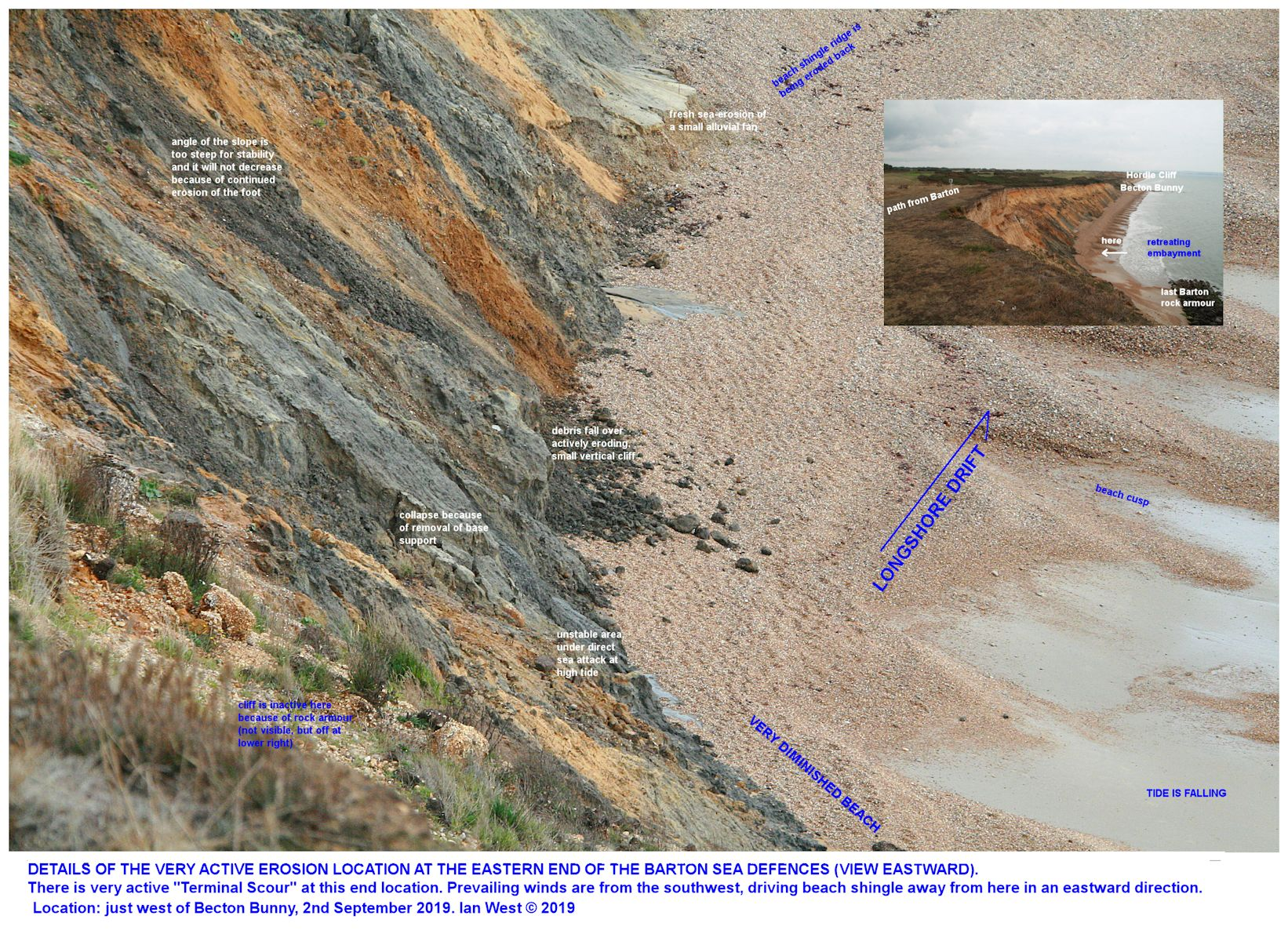 Details of active cliff erosion and cliff collapse just to the west of Becton Bunny, Barton-on-Sea, Hampshire, southern England, 2nd October 2019