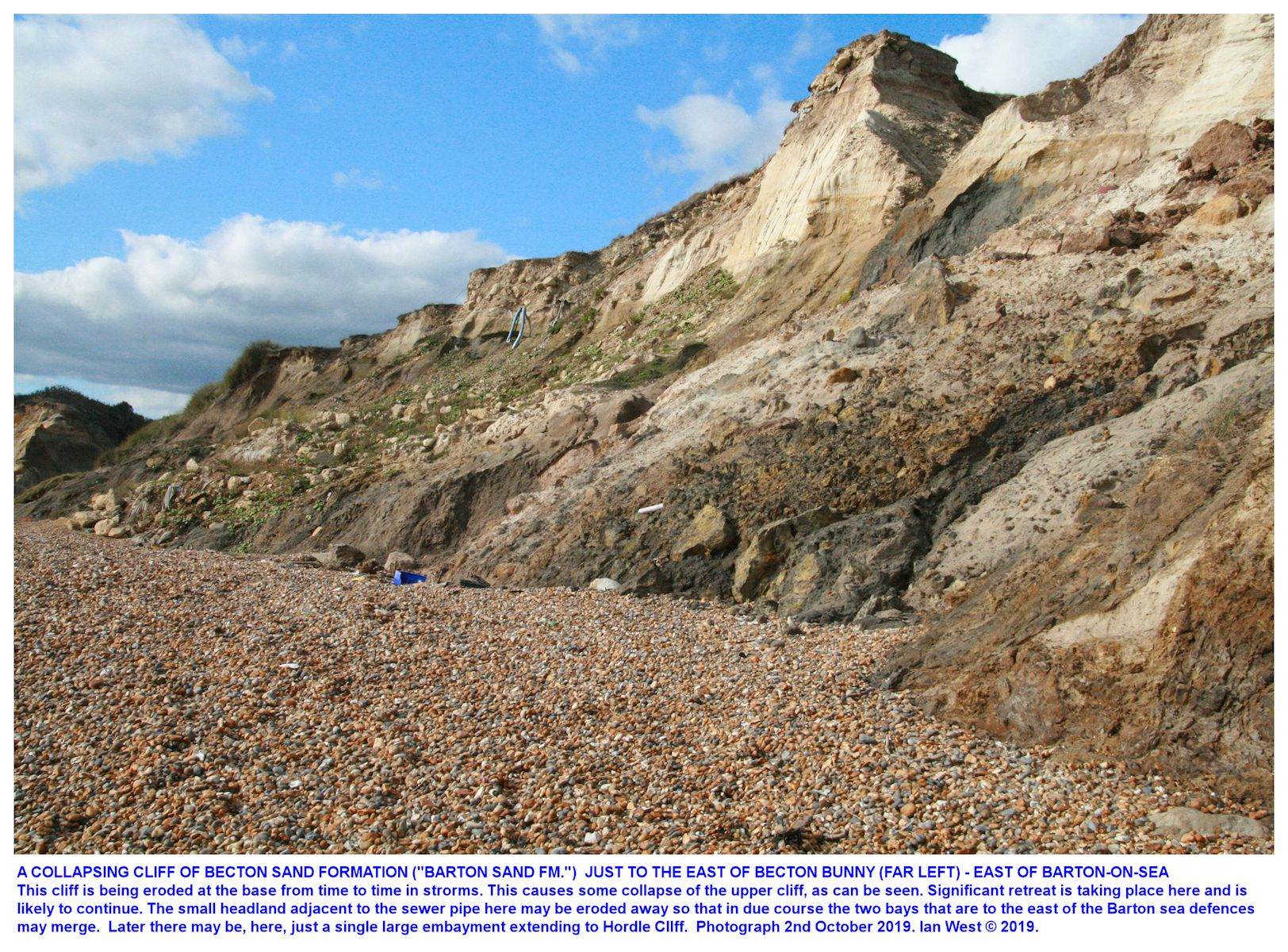 Erosion taking place at the coast just east of Becton Bunny, Hampshire, southern England, 2nd October 2019