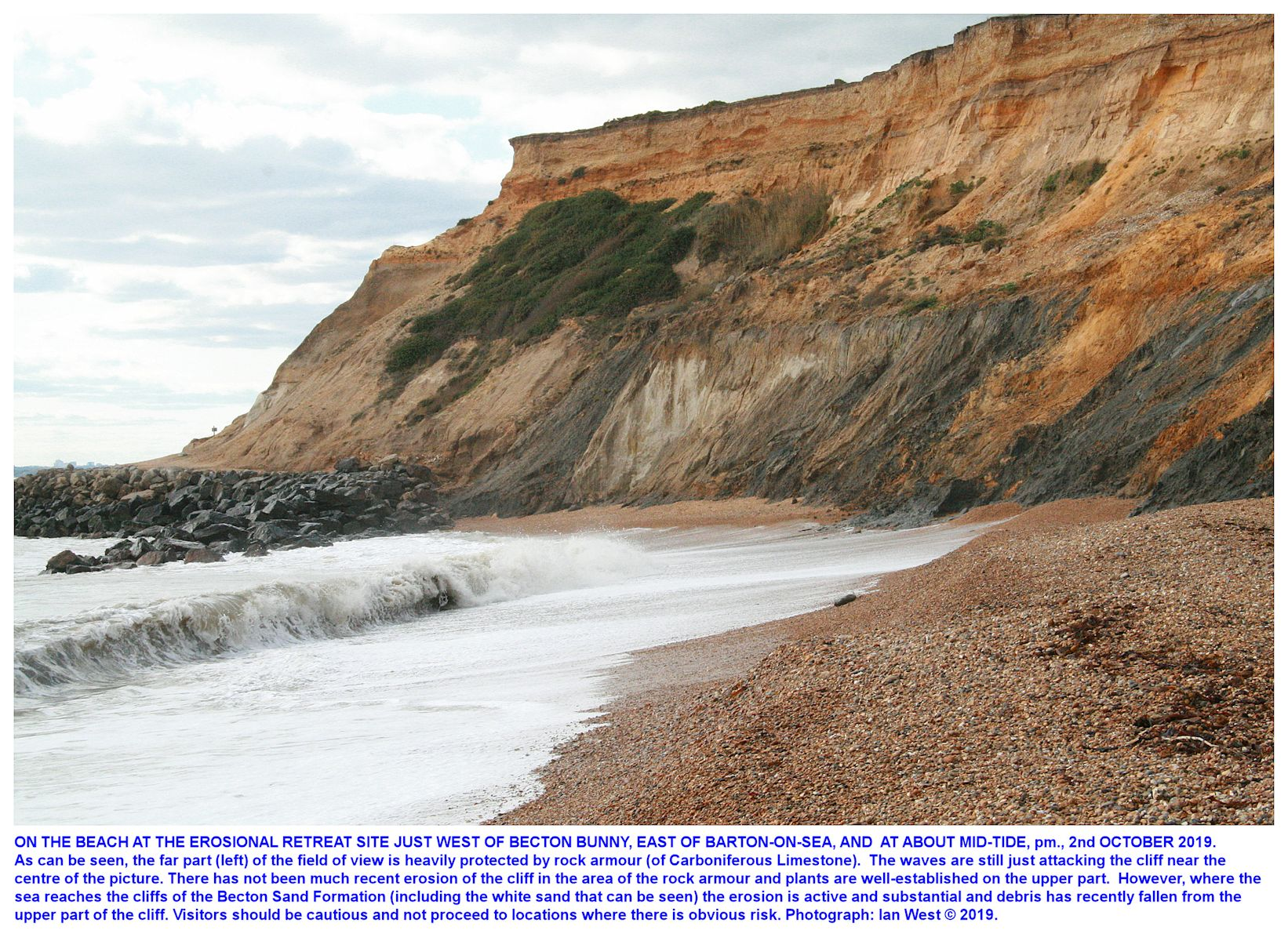 The erosional reentrant of cliffs  that cut into the Becton Sand, part of the Barton Group,  near Becton Bunny, east of the Barton-on-Sea, sea defences seen from the beach, 2nd September, 2019, Ian West