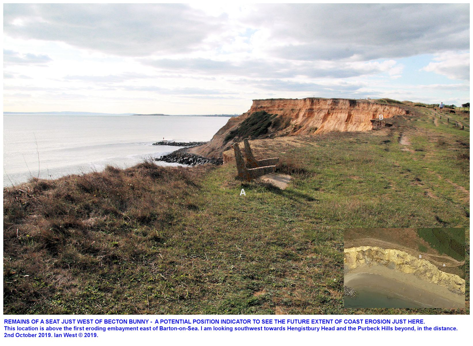A seat with the timbers removed, close to the eroding cliff edge, just west of Becton Bunny, near Barton-on-Sea, as seen on the 2nd October 2019