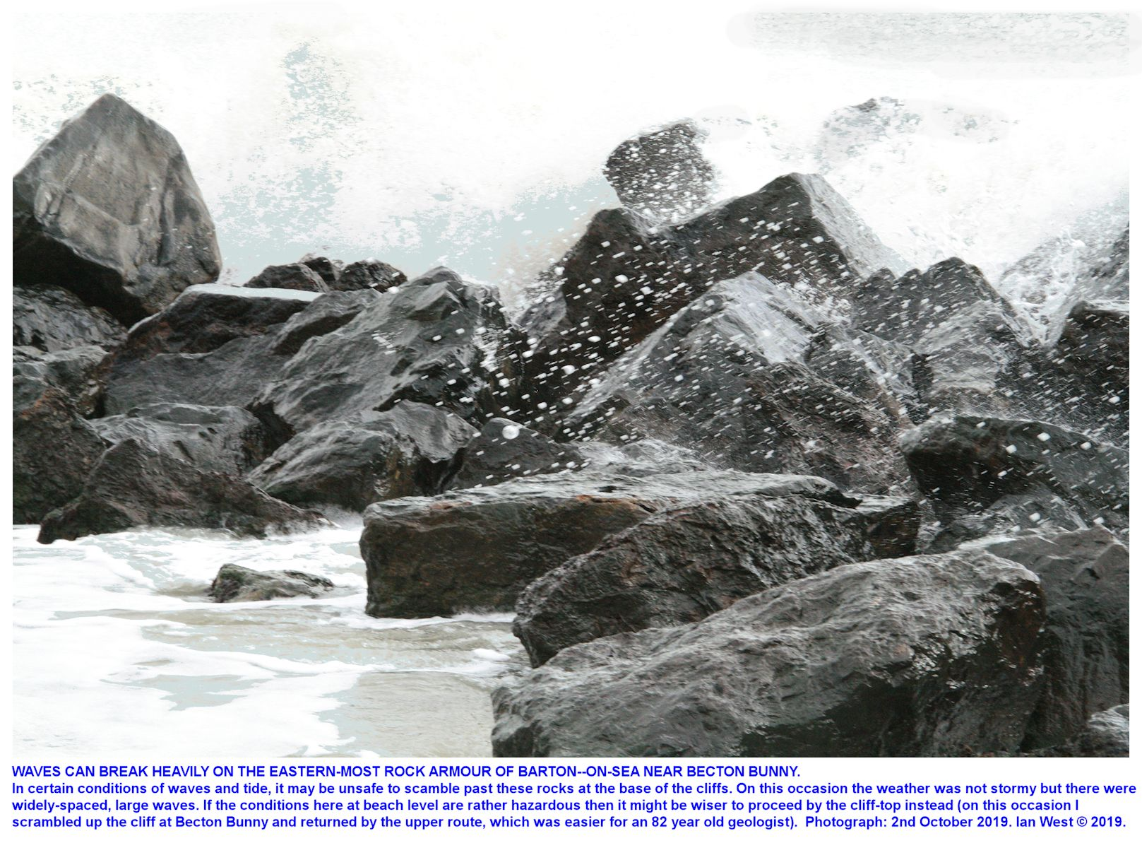 Take care to avoid breaking waves if passing the rocks at the eastern end of the Barton rock armour - and do not use this route if the conditions here are hazardous, photograph - pm., 8th October 2019, Ian West