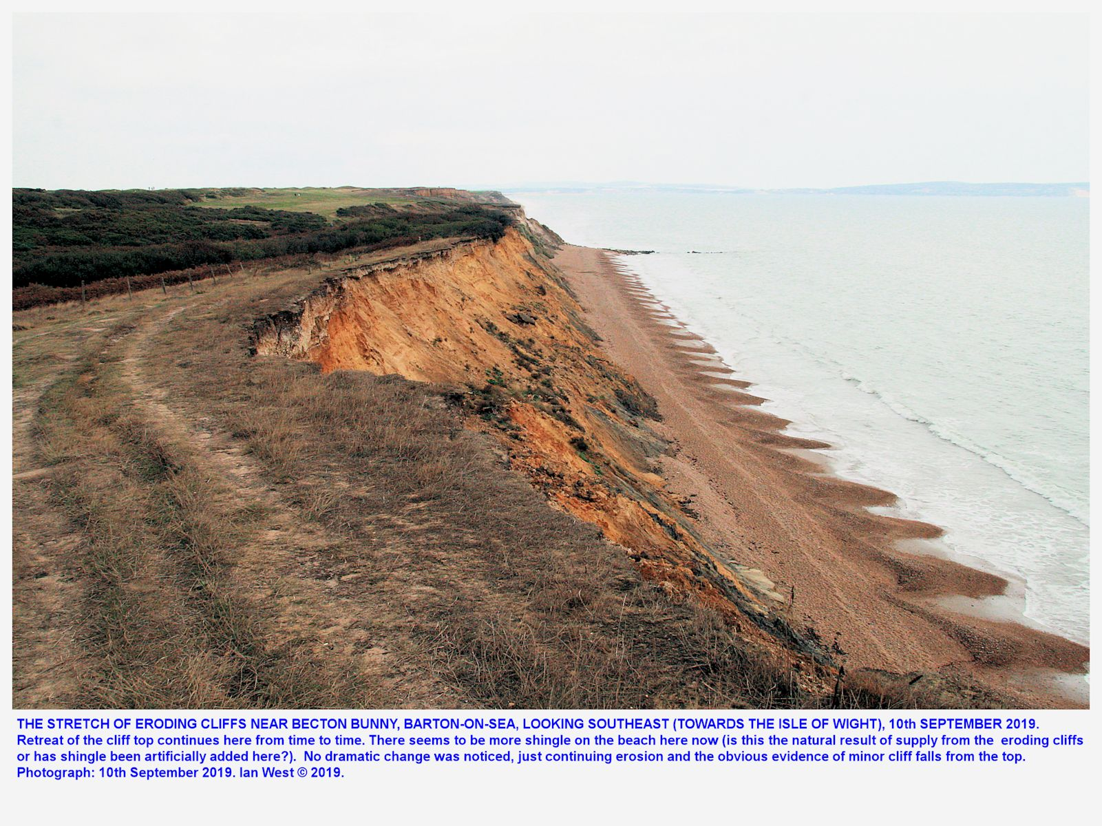Approaching Becton Bunny, looking southeast, and seeing the continuing erosion of the cliffs in this area, just southeast of the end of the Barton sea defences, Hampshire, England, 10th September, 2019