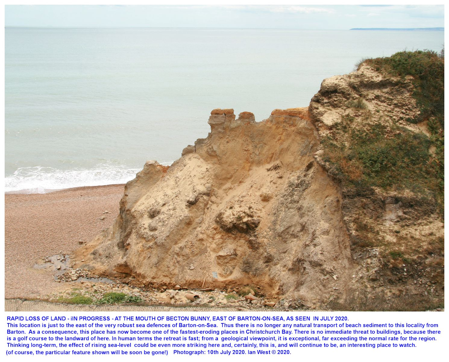 Rapid erosion of the Barton Sand or Becton Sand Formation taking place in the cliff at the mouth of Becton Bunny, east of Barton-on-Sea, Hampshire, as seen on the 10th July 2020, Ian West