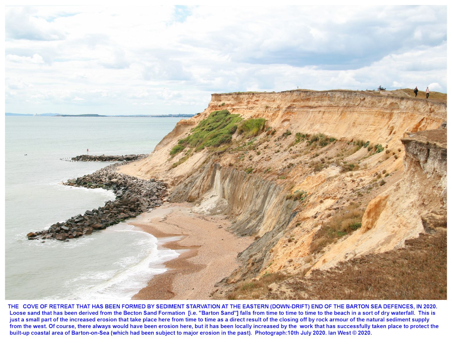 A small sand fall taking place in the Becton Bunny embayment that has formed at the eastern end of the Barton-on-Sea coastal defences, as seen on the 10th July 2020