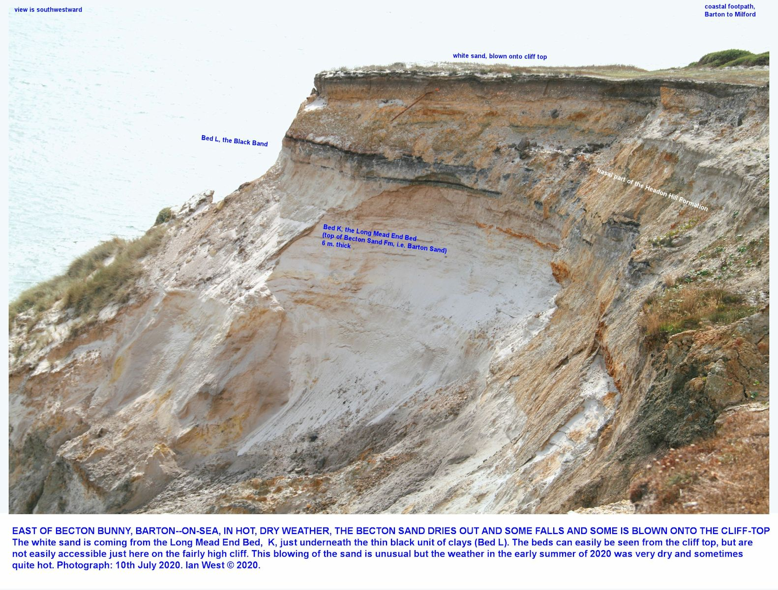 The fine, white quartz sand of the Becton Sand Formation, as seen from the cliff top and looking westward, 10th July 2020