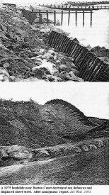 Landslide in the Barton Court area displacing sheet-iron of sea-defences