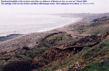 Rotational landslide and mudslide in the Cliff House area, Barton-on-Sea, in 2001