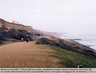 Cliffs at Barton-on-Sea in 2001, with only one landslide visible
