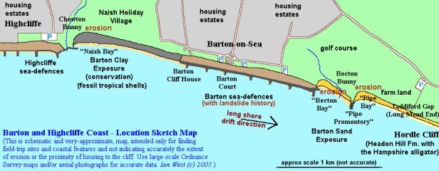 Location sketch map of the Barton and Highcliffe Coast, Hampshire
