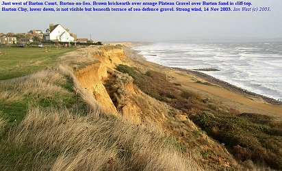 Cliff-top with sea defences below, west of Hoskin's Gap, as seen in 2003 before major collapse commenced here