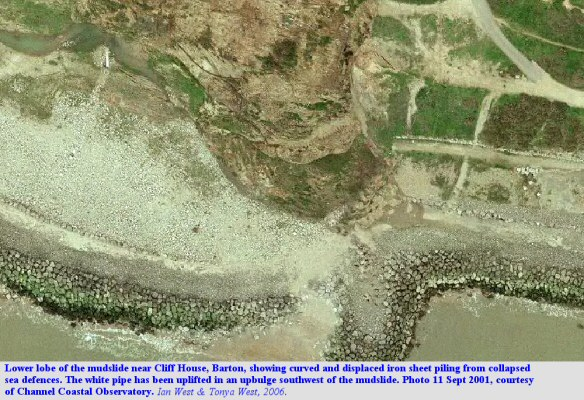 Aerial view of the lower lobe of the mudslide near Cliff House, Barton-on-Sea, Hampshire, in 2001