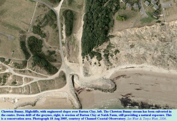 Aerial view of Chewton Bunny outflow, Highcliffe, 2005, with engineered slopes on the left and with increased erosion on the right resulting from cut off of natural sediment supply