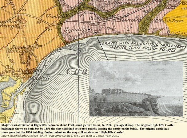 Erosion at Highcliffe, Dorset from 1790 to 1856 as shown by the relationship of the cliff edge and original Highcliffe Castle