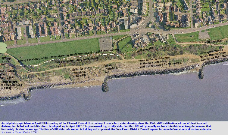 An aerial photograph, courtesy of the Channel Coastal Observatory, of central Barton-on-Sea, with my additions showing locations of recent cliff failures to April 2007