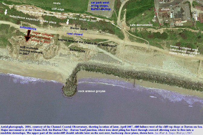 Locations of the 2007 cliff collapse west of Hoskin's Gap, Barton-on-Sea  Hampshire, shown on an older aerial photograph, courtesy of the Channel Coastal Observatory