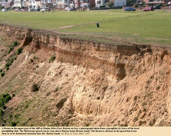 Fissure in the cliff top, Marine Drive East, Barton-on-Sea, Hampshire, photograph by Steve from a paraglider