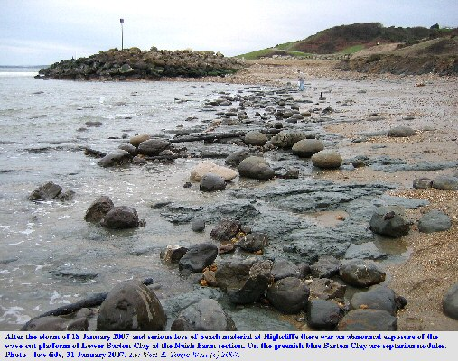 A sign of coastal retreat - loss of beach material at Naish Farm, Highcliffe, Hampshire, revealing, an erosional platform of Lower Barton, A2 grey-green clay, with fallen septarian nodules lying loose above