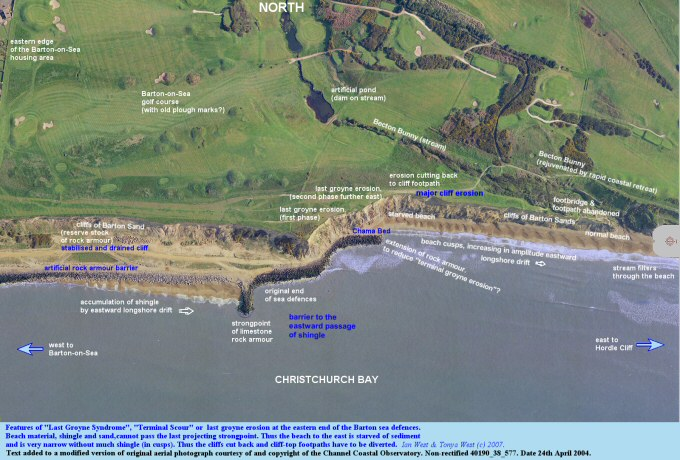 Aerial view, 2004,  courtesy of the Channel Coastal Observatory, of the eastern Barton to Becton Bunny cliffs with Terminal Groyne Syndrome, Hampshire
