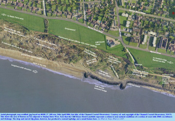 Aerial photograph of the Marine Drive West part of Barton-on-Sea, Hampshire, coast, 2004, courtesy of the Channel Coastal Observatory