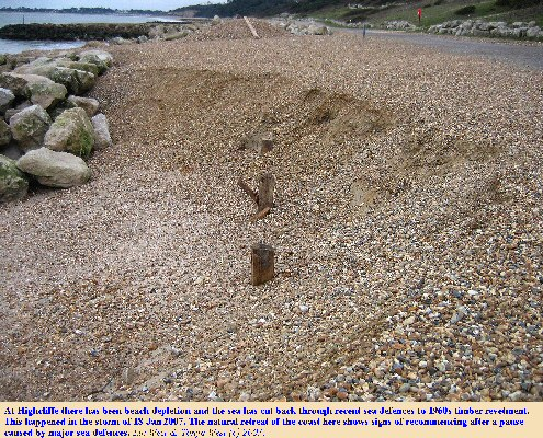 Loss of beach material in the storm of 18 January 2007 and cut back of recent sea defences to reveal 1960s timber revetment