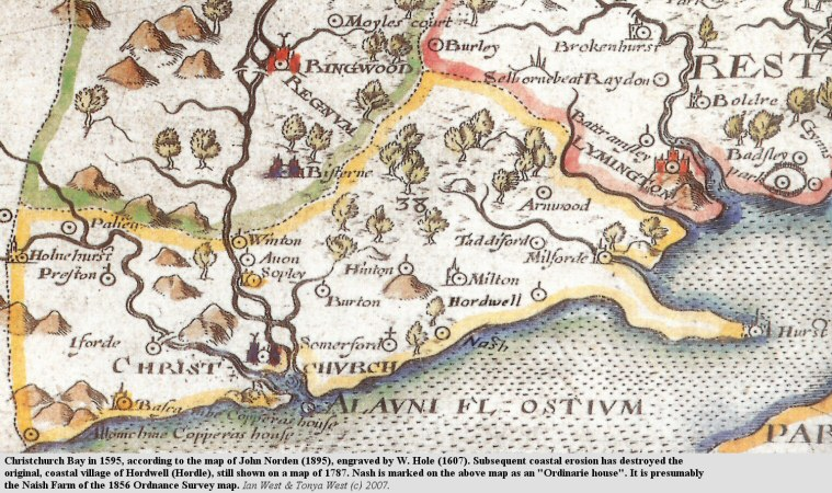 Part of John Norden's 1595 map of Hampshire, showing the former location of Hordle village on the coast of Christchurch Bay before it was eroded away by the sea