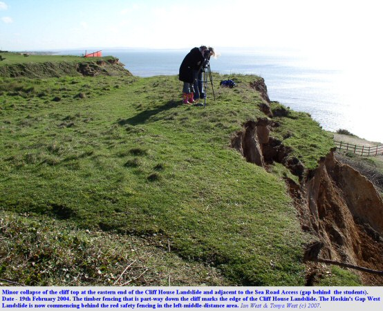 Minor cliff top spalling next to the Sea Road Access, Barton-on-Sea, Hampshire, 19th February 2004