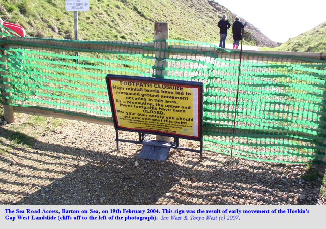 Closure of the Sea Road Access as a result of the start of the Hoskin's Gap West Landslide, Barton-on-Sea, Hampshire