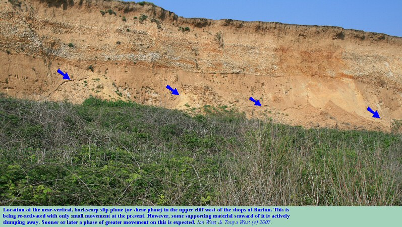 The backscarp slip in the upper cliffs west of Hoskin's gap, Barton-on-Sea, Hampshire, that is showing evidence of re-activation, April 2007