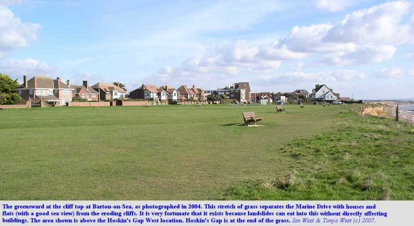 The greensward at the cliff top, Marine Drive, Barton-on-Sea, Hampshire, in 2004