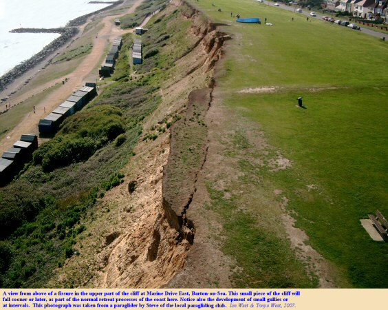 A view from above the fissure of Marine Drive East, Barton-on-Sea, Hampshire, photograph taken by Steve from a paraglider