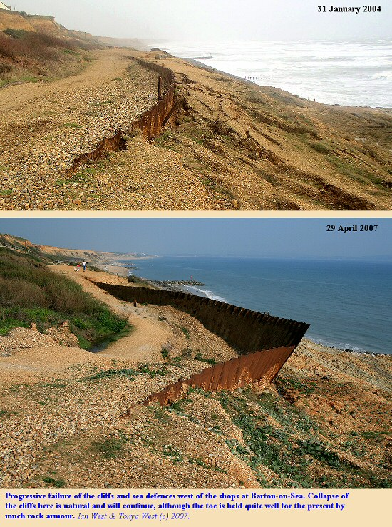 Progressive failure of cliffs and sea defences west of the shops at Barton-on-Sea, Hampshire, from 2004 to 2007