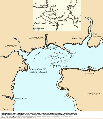 Part of Richard Popinjay's map of 1587, showing the coast of Poole Bay and Christchurch, Dorset and Hampshire, southern England