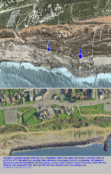 Aerial photographs showing area of cliff collapse near the shops and Barton Court, Barton-on-Sea, Hampshire, which took place in 1974-5