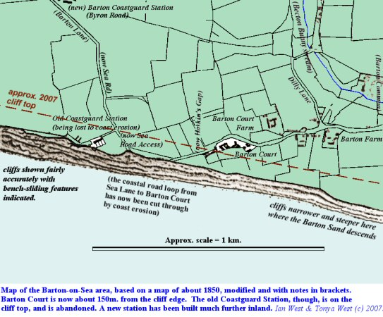 Redrawn map of part of the Barton-on-Sea coast, based on a map from about 1850