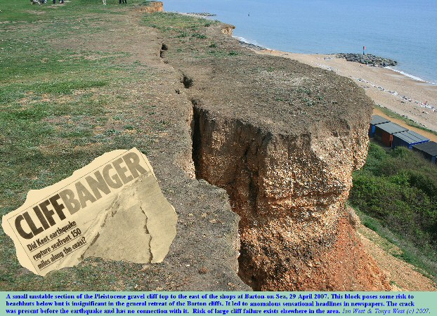 A small potential cliff fall on the east side of Barton-on-Sea, Hampshire that resulted in exaggerated publicity