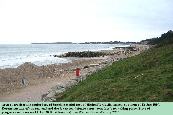 Reconstruction work on sea defences east of Highcliffe Castle, Hampshire, after storm damage on 18 January 2007 etc