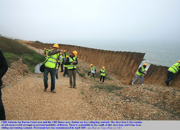 Sheet iron from old sea defences turning and sliding seaward between Hoskin's Gap and the Sea Road access road, Barton-on-Sea, Hampshire, as seen in April 2007
