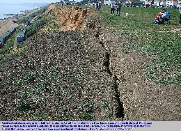 A small potential landslide or cliff-fall of Pleistocene gravel at the cliff top near Marine Drive East, Barton-on-Sea, Hampshire, April 2007
