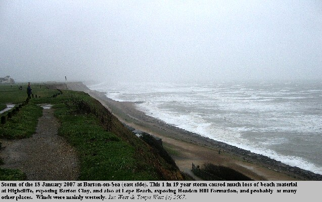 Storm of 18 January 2007 at Barton-on-Sea, Hampshire, east side