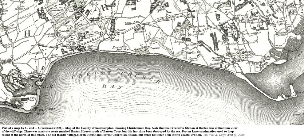 Part of Greenwood's map of 1826 showing Christchurch Bay and Barton-on-Sea, Hampshire