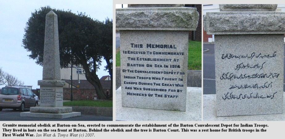Granite obelisk to commemorate the estabishment of an Indian Troop Convalescent Depot at Barton-on-Sea, Hampshire, in 1914